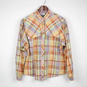 PANHANDLE SLIM Orange purple plaid buttoned shirt